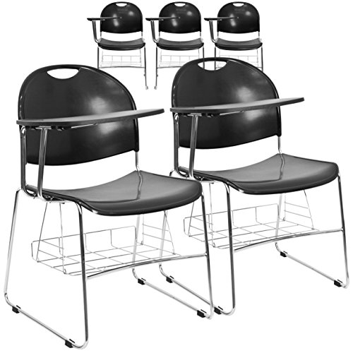 Flash Furniture 5 Pk. Black Plastic Chair with Right Handed Flip-Up Tablet Arm and Book Basket