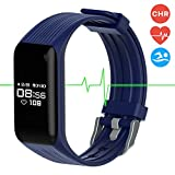 MGcool Fitness Tracker Smart Band Continuous Heart Rate Monitor, B3 Activity Tracker Bracelet Sleep Monitor Step Counter Stopwatch Distance Calorie, Smart Watch Reminder, (Band3-Blue)