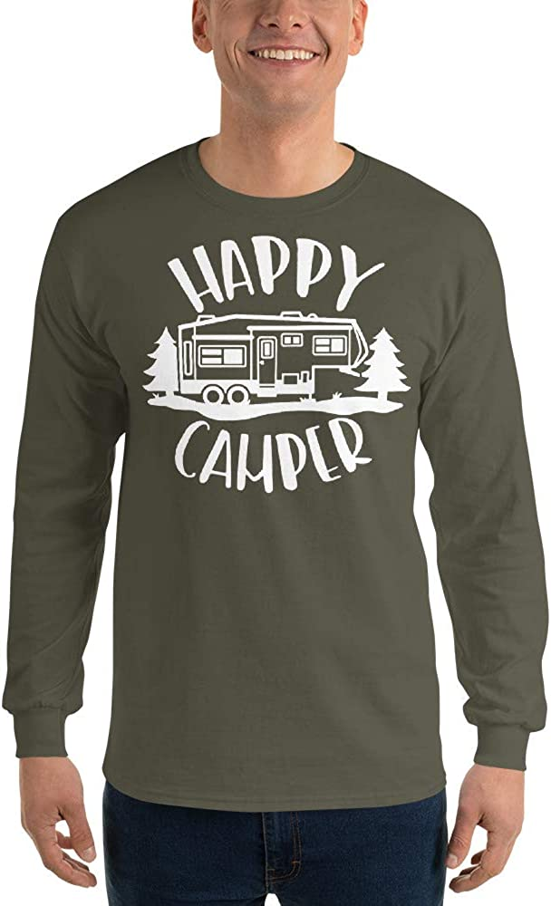 Happy Camper Camping Vacation Fifth Wheels Trailer Travel Men/'s Long Sleeve Shirt