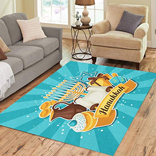 Pinbeam Area Rug Hanuka Jewish Hanukkah Celebration Holiday Happy Hebrew Jug Home Decor Floor Rug 5' x 7' Carpet - Jewish Celebrations Rug