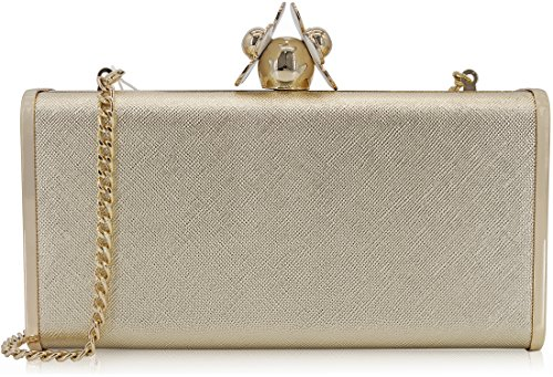 Dexmay Womens Clutches Large Evening Bag with White Flower Closure Metallic PU Leather Clutch Purse Gold