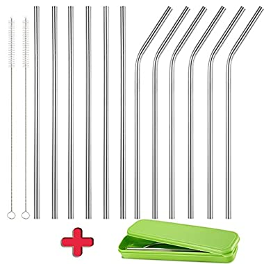 Accmor 18/8 Stainless Steel Straws, Reusable Drinking Straws - Set of 12(6 Bent, 6 Straight) with 2 Cleaning Brushes and Storage Box-Great for To-Go Cups, Mason Jars, Ball Jars(LE:8.5in, OD: 0.24in)