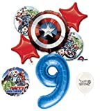 9th Birthday Blue Number Avengers Captain America Shield Balloons Bouquet Bundle
