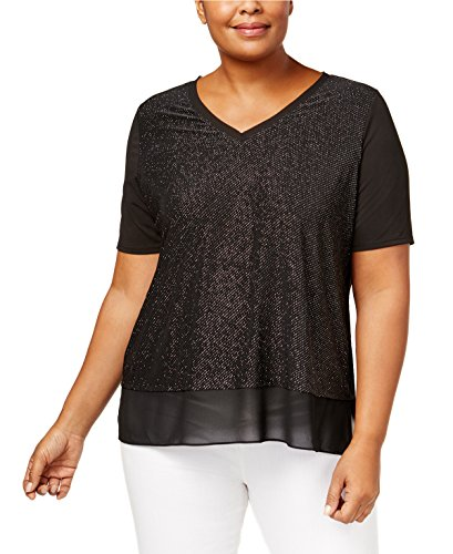 NY Collection Plus Size Metallic V-Neck Top (1X) - Metallic Knit Top