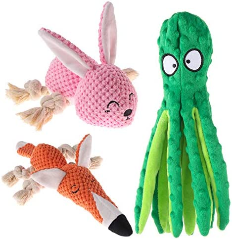 3-Pack Plush Dog Toy, Interactive Stuffed Octopus Fox Dog Toys, Squeaky Dog Chew Toys, For Small to Medium Dogs Training And Playing
