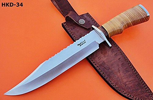 REG-HKD-34 Custom Handmade 14 Inches D-2 Steel Hunting Knife – Beautiful Olive Burrel Wood Handle with Stainless Steel Guards