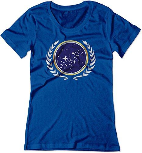 (BSW Women's Star Trek United Federation of Planets Logo Shirt LRG Royal Blue)