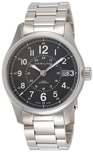 Hamilton Men's Khaki Field Swiss-Automatic Watch with Stainless-Steel Strap, Silver, 20 (Model: H70595163)