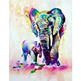 5D Diamond Painting by Number Kit DIY Crystal Rhinestone Cross Stitch Embroidery Arts Craft Picture Supplies for Home Wall Decor,Elephant - 12x16inches