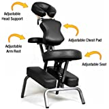 Ataraxia Deluxe Portable Folding Massage Chair w/Carry Case & Strap - Charcoal Black
