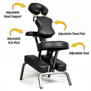 massage chair pad amazon. ataraxia deluxe portable folding massage chair w/carry case \u0026 strap - charcoal black pad amazon