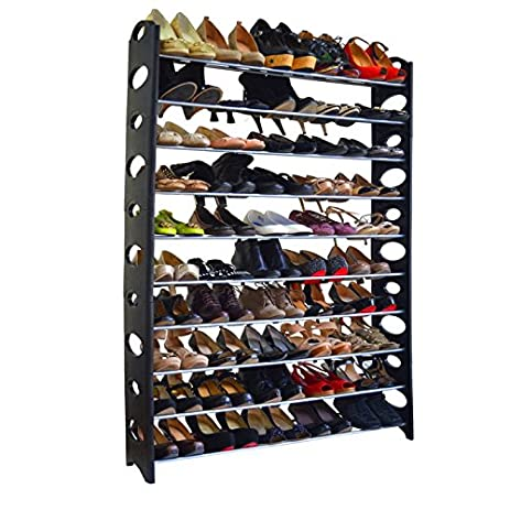 Azadx Shoe Tower Rack, 10 Tier 50 Pair Free Standing Shoe Rack Organizer,  Shoes