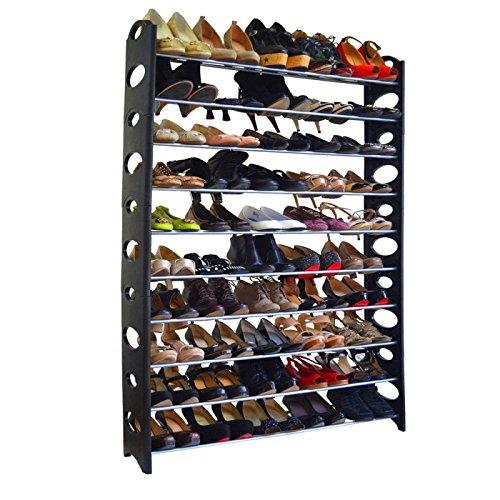 Azadx Shoe Tower Rack, 10 Tier 50 Pair Free Standing Shoe Rack Organizer, Shoes Storage Organizer Shelf, Space-Saving Shoes Closet Organizer