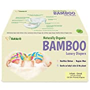 Bamboo Diapers Eco-Friendly Disposable Natural Hypoallergenic Soft w/Wetness Indicator Wicks Away Moisture to Keep Your Infant & Toddler Dry & Happy for Sensitive Skin Size 1-2 120ct 9-16lb Value Pac