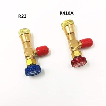 JYYC 2pcs más válvula de Seguridad líquida R410A R22 Aire Acondicionado refrigerante 1/4 Adaptador