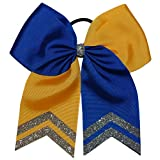 """6 1/2 """" Royal Blue and Yellow Gold with Silver Glitter Tips"""