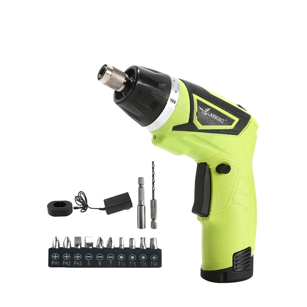 LANNERET Electric Screwdriver Cordless Household 7.2 V Lithium Ion Rechargeable Power Screw Guns with LED Light Single Packing
