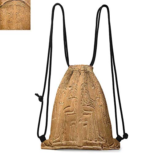 Egyptian Printed drawstring backpack Egyptian Hieroglyphs on the Wall Stone Surface Scripts Ancient Arts Theme Image Suitable for school or travel W17.3 x L13.4 Inch Pale Brown