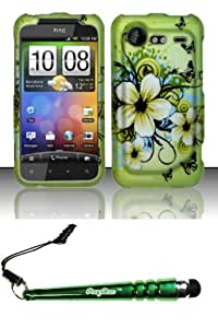 FoxyCase(TM) FREE stylus AND For HTC Incredible 2 6350 (Verizon) Rubberized Design Case Cover Protector - Hawaiian Flowers Desire Safe Phone cas couverture