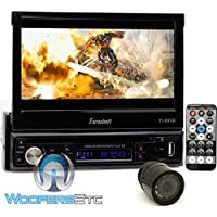 pkg Farenheit TI-895B In-Dash 1-DIN 7 Motorized Flip-Out LCD Touchscreen DVD/CD/USB Receiver with Bluetooth V3.0 + XO Vision Backup Camera with Nightvision