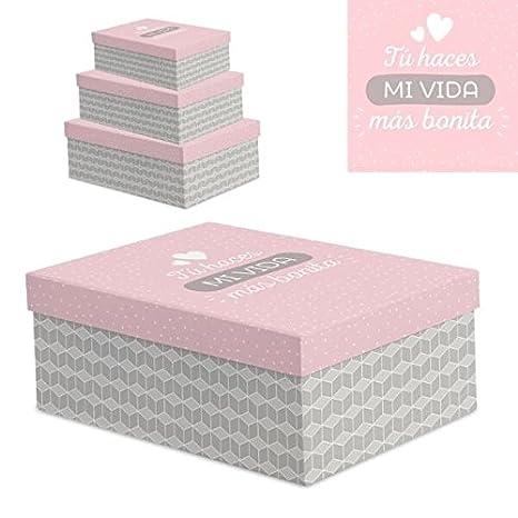 """Juego 3 cajas regalo diseño frases """" VIDA BONITA ..."""