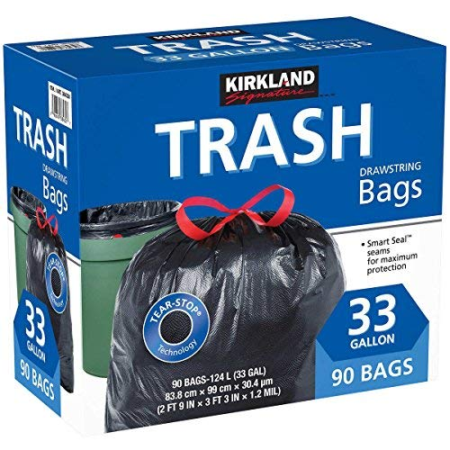 Kirkland Signature Carton is 100% recyclable 33 Gallon Black Drawstring Trash Bag 90 Count ,Tear-Stop Technology