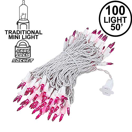 Novelty Lights 100 Light Purple Christmas Wedding Mini String Light Set, White Wire, Indoor/Outdoor UL Listed, 50' Long