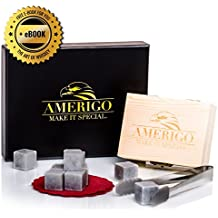 Luxury Whiskey Stones Gift Set by Amerigo - Set of 9 Whiskey Rocks - Reusable Drinking Ice Stones - Chilling Stones Gift Set with Hand Crafted Wooden Box, Stainless Steel Tongs and Classy Coaster