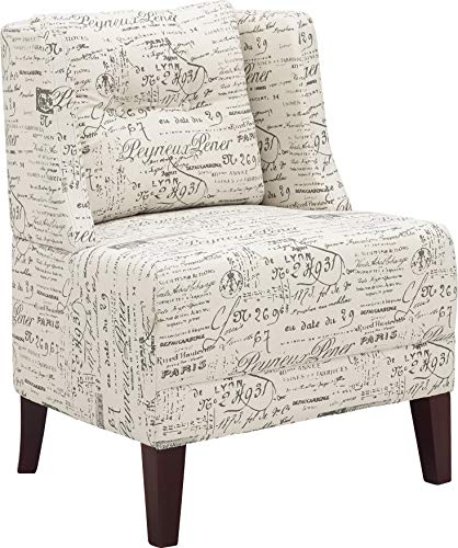 Leisure Fabric Upholstered Wingback Accent Armless Chair with Backrest for Living Room (French White) (Lucia Accent Chair)