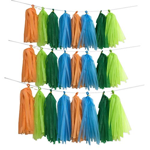 - Dinosaur Theme Party Backdrop, 40pcs Jungle Theme Dark Light Green Blue Orange Tassel Banner Garland Tissue Photo Background for Birthday Wedding Bachelorette Baby Shower Party Supplies
