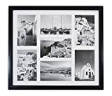 """Golden State Art, 13.7x15.7 Matted Black Wood 7-Opening for 4 x 6"""" Collage Picture Frame"""