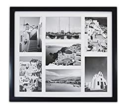 Golden State Art, 13.7x15.7 Black Photo Wood Collage Frame with REAL GLASS and White Displays (7) 4x6 pictures