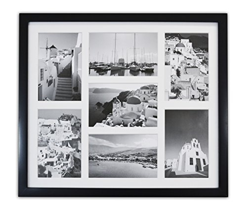 "51N4Ml8%2ByZL - Golden State Art, 13.7x15.7 Matted Black Wood 7-Opening for 4 x 6"" Collage Picture Frame"