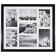 "Golden State Art, 13.7x15.7 Matted Black Wood 7-Opening for 4 x 6"" Collage Picture Frame"