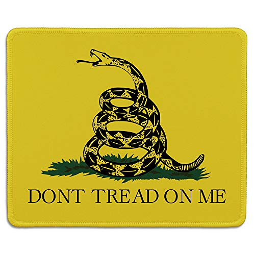 dealzEpic - Art Mousepad - Natural Rubber Mouse Pad Printed with Dont Tread on Me Gadsden Flag with a Coiled Rattlesnake - Stitched Edges - 9.5x7.9 inches