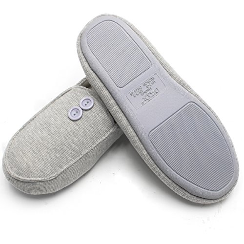 Buttons Foam Memory Women's Toe Cotton amp; Design slip Indoor Men's Grey Anti Slippers Ofoot Closed Cozy with w0688q