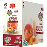 Earth's Best Organic Stage 2, Apple, Peach, Oatmeal,Fruit and grain 4.2 Ounce Pouch (Pack of 6) (Packaging May Vary)