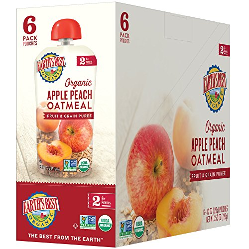 Earth's Best Organic Stage 2 Baby Food, Apple Peach and Oatmeal, 4.2 oz. Pouch (Pack of 12) (Wheat Flour No)