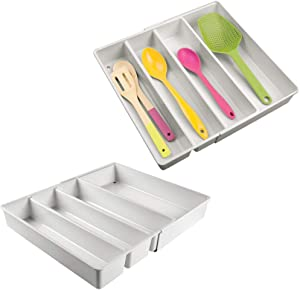 mDesign Adjustable, Expandable 4 Compartment Kitchen Cabinet Drawer Organizer - Divided Sections for Cutlery, Serving Spoons, Cooking Utensils, Gadgets - BPA Free, Food Safe - 2 Pack - Light Gray