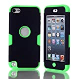 iPod Touch 5 Case,iPod Touch 6 Case, NOKEA Layered 3in 1 Hard PC Case Silicone Shockproof Heavy Duty High Impact Armor Hard Case for Apple iPod Touch 6 5th Generation (Black Green)