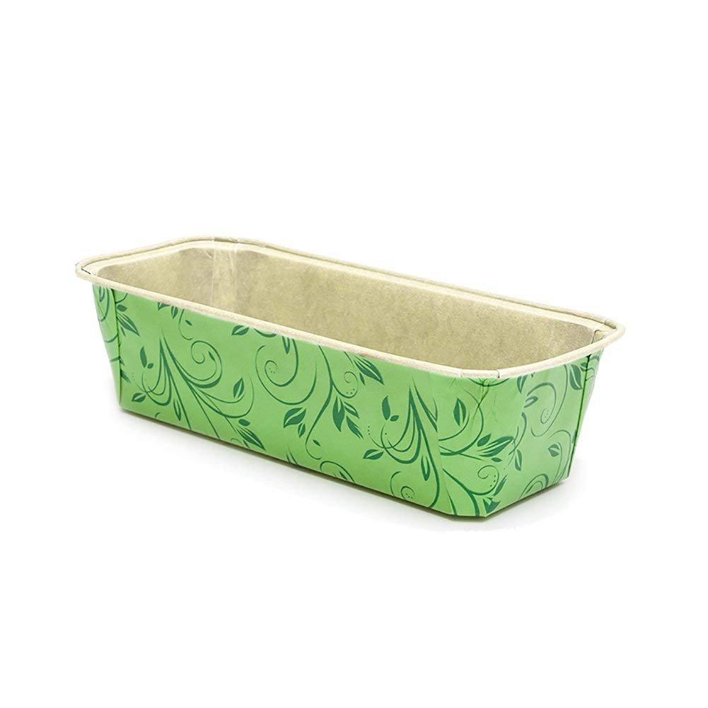 Premium Paper Baking Loaf Pan, Perfect for Chocolate Cake, Banana Bread, Medium, Green with Dark Green Print, Set of 30pcs - by EcoBake