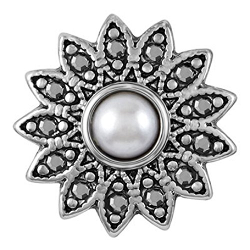Ginger Snaps FLORET WHITE PEARL SN31-24 Interchangeable Jewelry Snap Accessory