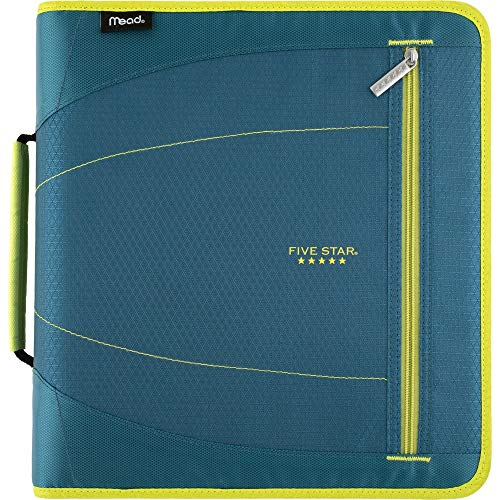 Five Star 2 Inch Zipper Binder, 3 Ring Binder, Removable File Folders, Durable, Teal/Chartreuse (29036IH8) (3 Ring Binder Zipper 2 Inch)