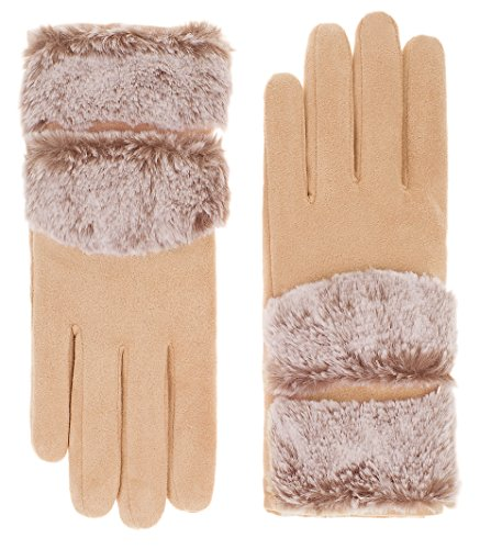 Thick Camel (IL Caldo Womens NEW Plush Texture Work Touch Screen Winter Thick Drive Gloves (One size, Camel A))
