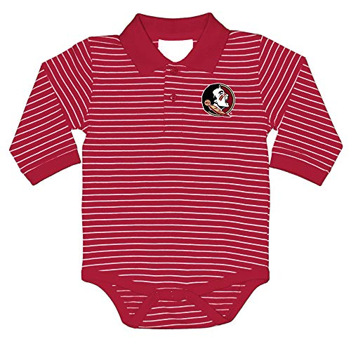 (Florida State Seminoles NCAA College Newborn Infant Baby Long Sleeve Striped Golf Creeper (0-3 Months) Red, White )