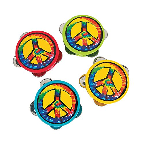 Fun Express - Peace Sign Tambourines - Toys - Noisemakers - Noisemaker Drums - 12 ()