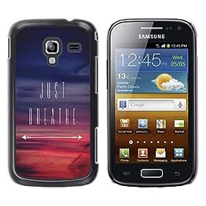 YOYOYO Smartphone Protección Defender Duro Negro Funda Imagen Diseño Carcasa Tapa Case Skin Cover Para Samsung Galaxy Ace 2 I8160 Ace II X S7560M - sólo respira inspirador atardecer púrpura