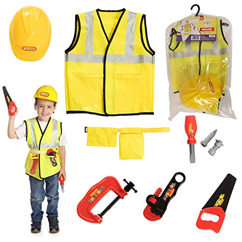 Dress 2 Play Builder Pretend Costume, 9 Piece Dress up Set with Accessories]()