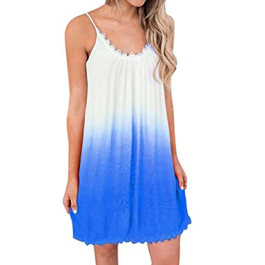 Paymenow Clearance Women Sexy Gradient Color Spaghetti Strap Sleeveless Lace  Mini Tank Dress Summer Swing Tunic afc38d8b38f1