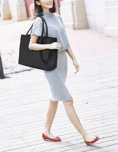 Trendstar Die Mode Der Frauen Taschenschulterbeutel Der Damen Große Designer Kunstleder Neue Handtasche AA - Schwarz S-4